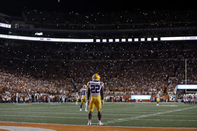 LSU Tigers running back Clyde Edwards-Helaire #22, pauses during the game against the Texas Longhorns Saturday Sept. 7, 2019 at Darrell K Royal-Texas Memorial Stadium in Austin, Tx. LSU won 45-38. ( Photo by Edward A. Ornelas )