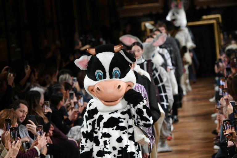 No skin off my nose: Vegan designer Stella McCartney send out furry costumes of all the animals that do not have to die for her clothes in her Paris fashion week show