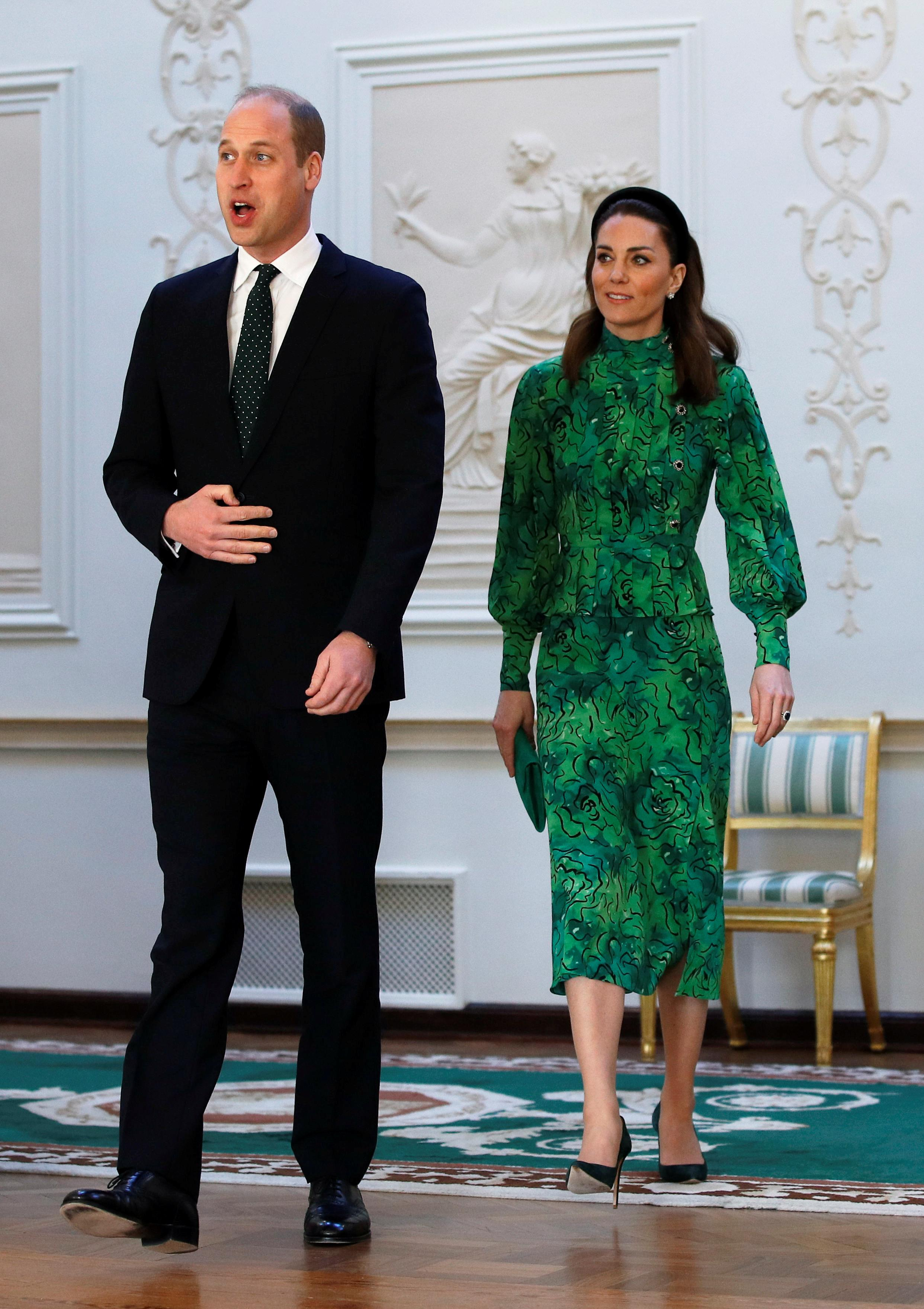 The Duke and Duchess of Cambridge arrive to meet with Ireland's President Michael D. Higgins and his wife Sabina Coyne at the official presidential residence Aras an Uachtarain. (Getty Images)