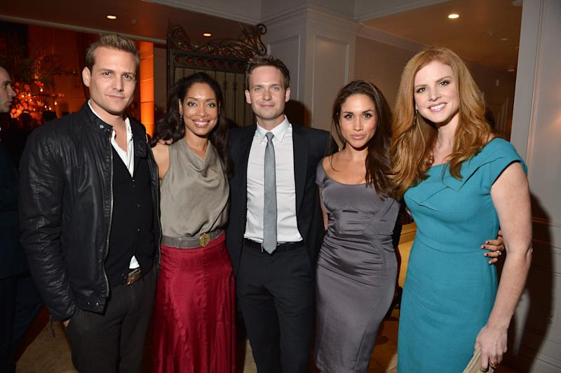 "Back in her ""Suits"" days, Meghan partied with her co-stars Gabriel Macht, Gina Torres, Patrick J. Adams, and Sarah Rafferty at the InStyle and Hollywood Foreign Press Association's Toronto International Film Festival Party on Sept.11, 2012."