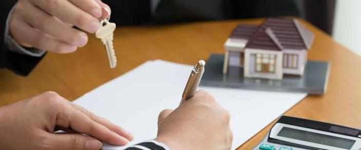 Banks approve loans to buy homes. Real Estate concept