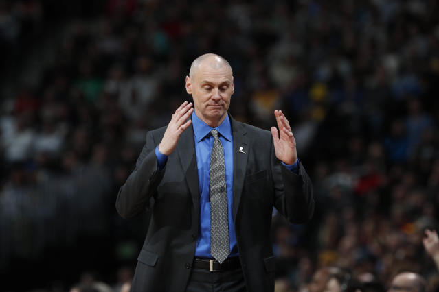 "<a class=""link rapid-noclick-resp"" href=""/nba/teams/dal/"" data-ylk=""slk:Dallas Mavericks"">Dallas Mavericks</a> head coach Rick Carlisle in the second half of an NBA basketball game Saturday, Jan. 27, 2018, in Denver. The Nuggets won 91-89. (AP Photo/David Zalubowski)"