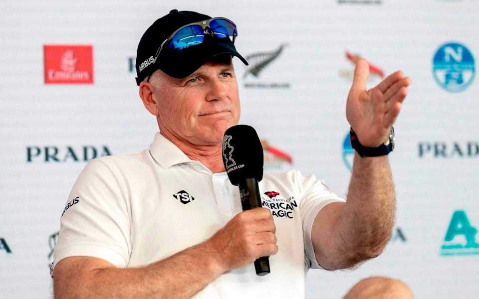Terry Hutchinson of New York Yacht Club American Magic speaks at a press conference after round two races of the 2021 Prada Cup