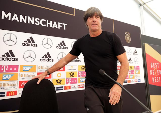 Soccer Football - FIFA World Cup - Germany Squad Announcement - Eppan, Italy - June 4, 2018 Germany coach Joachim Loew during the press conference REUTERS/Lisi Niesner