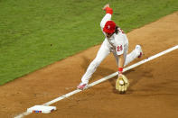 Philadelphia Phillies third baseman Alec Bohm fields a single by New York Mets' Amed Rosario during the fourth inning of a baseball game, Friday, Aug. 14, 2020, in Philadelphia. (AP Photo/Matt Slocum)