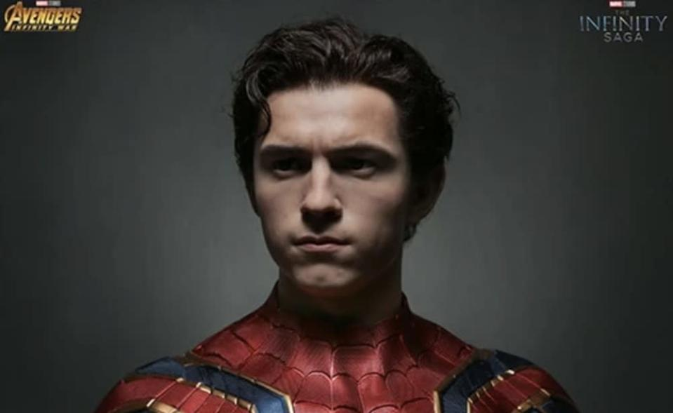 A bust of Tom Holland as the MCU's Spider-Man