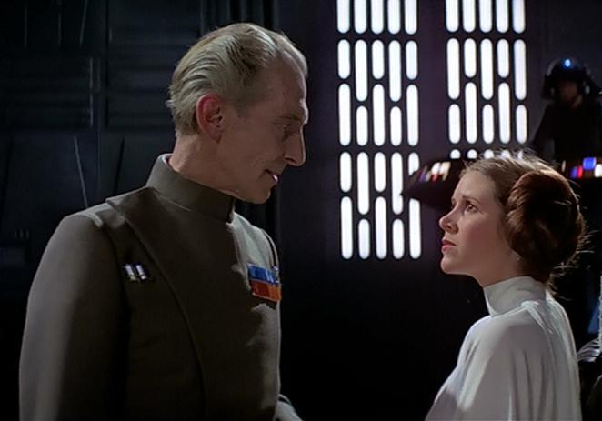 Tarkin (Peter Cushing) confronts Leia (Carrie Fisher) in 'A New Hope' (Lucasfilm)