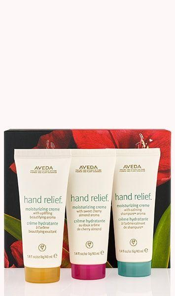 """<p><strong>Aveda</strong></p><p>aveda.com</p><p><strong>$24.00</strong></p><p><a href=""""https://go.redirectingat.com?id=74968X1596630&url=https%3A%2F%2Fwww.aveda.com%2Fproduct%2F17759%2F83154%2Fbody%2Fhand-care%2Fhand-relief-hydration-trio%23%2Fshade%2Fgift_set_%2528%252430_value%2529&sref=https%3A%2F%2Fwww.redbookmag.com%2Ffashion%2Fg34822878%2Fstocking-stuffers-for-her%2F"""" rel=""""nofollow noopener"""" target=""""_blank"""" data-ylk=""""slk:Shop Now"""" class=""""link rapid-noclick-resp"""">Shop Now</a></p><p>Winter months, constant washing, and hand sanitizing can lead to extremely dry skin. That's why this ultra moisturizing hand relief set from Aveda is a no brainer. </p>"""