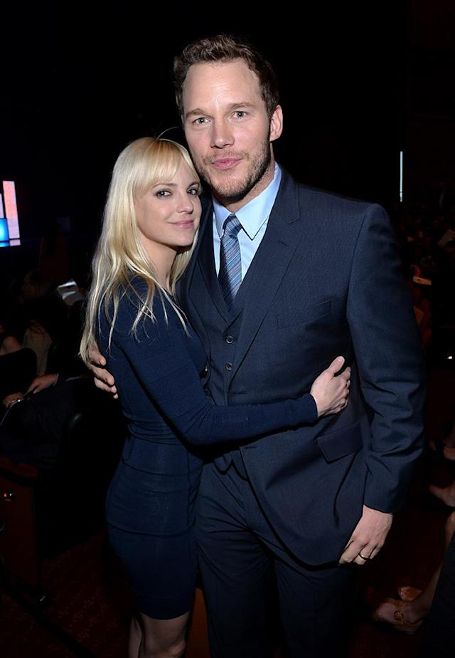 """<p>The comedic pair announced they were separating <a href=""""https://www.yahoo.com/entertainment/chris-pratt-anna-faris-split-warning-signs-195707256.html"""" data-ylk=""""slk:after eight years of marriage;outcm:mb_qualified_link;_E:mb_qualified_link"""" class=""""link rapid-noclick-resp"""">after eight years of marriage</a>, saying in statements, """"We tried hard for a long time, and we're really disappointed."""" They share one son, 5-year-old, Jack. Faris has already moved on with cinematographer Michael Barrett and Pratt <a href=""""https://www.yahoo.com/entertainment/anna-faris-boyfriend-michael-barrett-201506149.html"""" data-ylk=""""slk:officially filed for divorce;outcm:mb_qualified_link;_E:mb_qualified_link"""" class=""""link rapid-noclick-resp"""">officially filed for divorce</a> last month. (Photo: Michael Buckner/Getty Images for CinemaCon) </p>"""