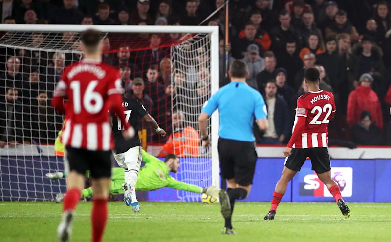 Sheffield United's Lys Mousset (right) scores his side's second goal of the game during the Premier League match at Bramall Lane, Sheffield. (Photo by Danny Lawson/PA Images via Getty Images)