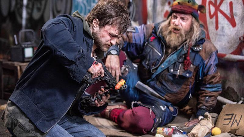 Daniel Radcliffe as Miles and Rhys Darby as Glenjamin in Guns Akimbo. (PHOTO: Golden Village Pictures)