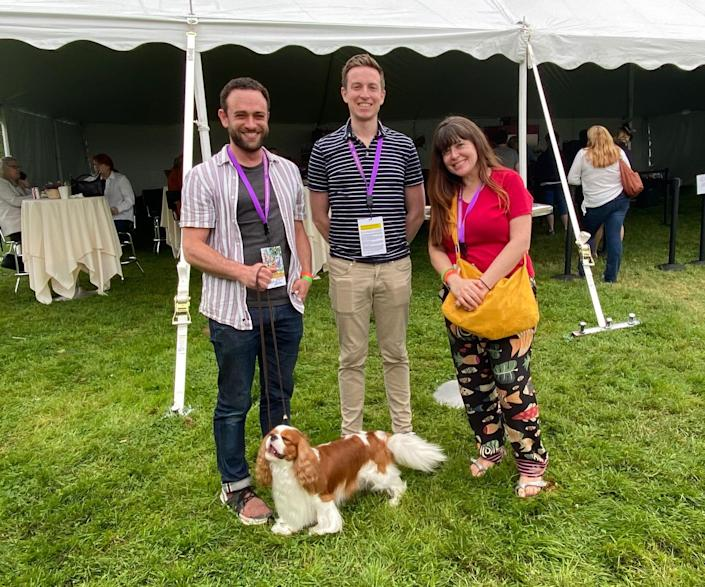 """Clockwise, starting with the dog: Chester, the award-winning Cavalier King Charles Spaniel; Elijah Wolfson, TIME editor; Joey Lautrup, TIME video producer; Sarah Todd, Quartz journalist.<span class=""""copyright"""">Courtesy of the author.</span>"""