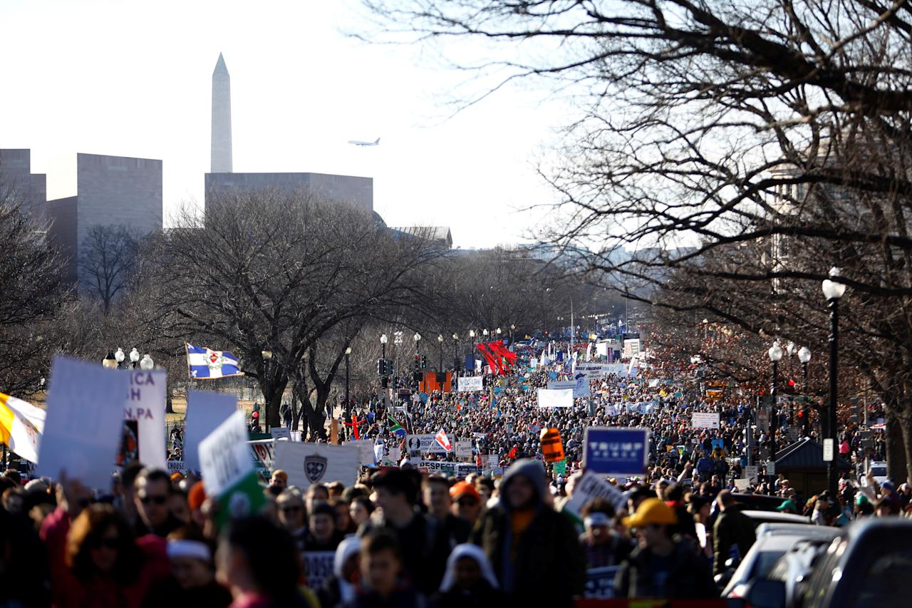 REFILE – CORRECTING DATE  Activists participate in annual the March for Life in Washington, U.S., January 19, 2018. REUTERS/Eric Thayer
