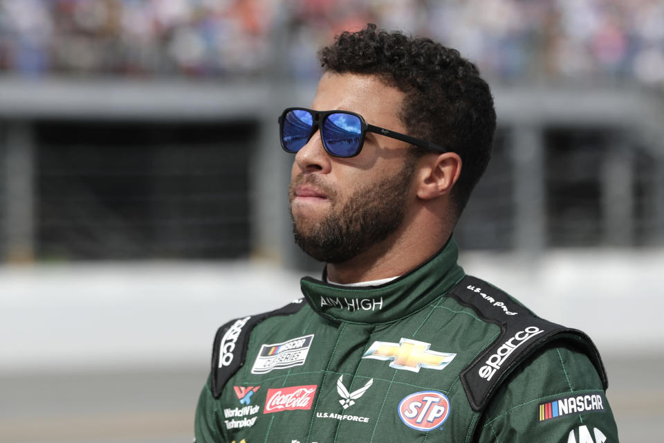 Bubba Wallace finished 21st at Atlanta, then appeared to faint during a post-race interview with Fox. (AP Photo/John Raoux)