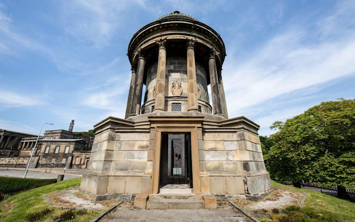 The sound installation is being set up at the foot of Calton Hill as part of the Edinburgh Art Festival, which opens on Thursday - Sally Jubb/University of Edinburgh