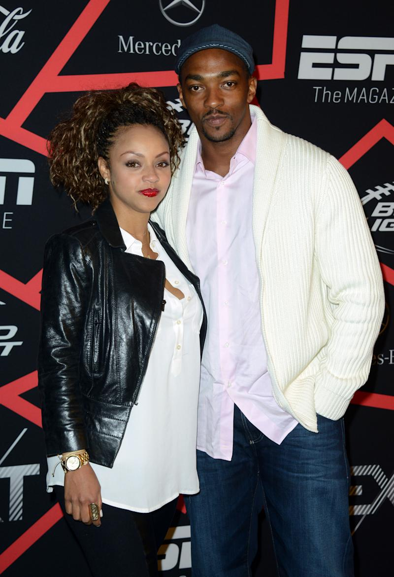 """Actor Anthony Mackie, right, and Sheletta Chapital arrive at ESPN The Magazine's """"Next"""" Event on Friday, Feb. 1, 2013 in New Orleans. (Photo by Jordan Strauss/Invision/AP)"""