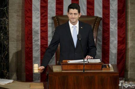 Newly elected Speaker of the U.S. House of Representatives Ryan wields the speaker's gavel for the first time on Capitol Hill in Washington