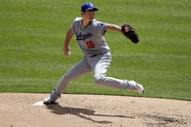 Los Angeles Dodgers starting pitcher Kenta Maeda delivers during the third inning of a baseball game against the Pittsburgh Pirates in Pittsburgh, Sunday, May 26, 2019. (AP Photo/Gene J. Puskar)