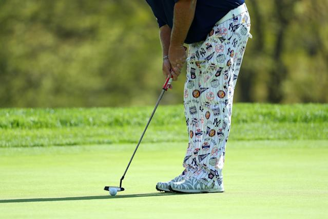 John Daly of the United States putts on the fourth hole during the first round of the 2019 PGA Championship at the Bethpage Black course on May 16, 2019 in Farmingdale, New York. (Photo by Warren Little/Getty Images)