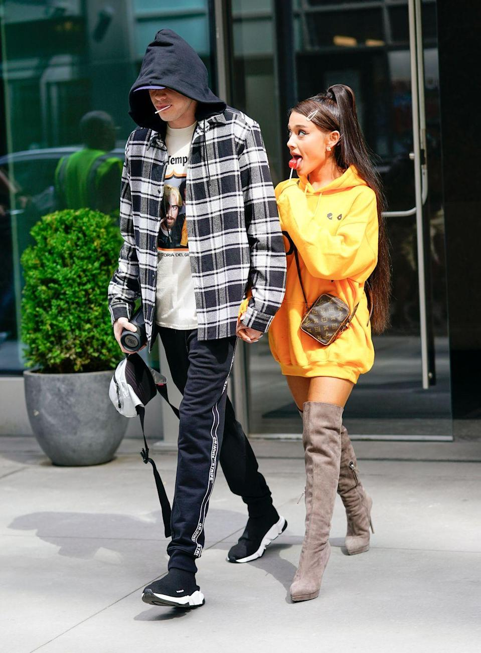 <p>Pete Davidson and Ariana Grande in NYC.</p>