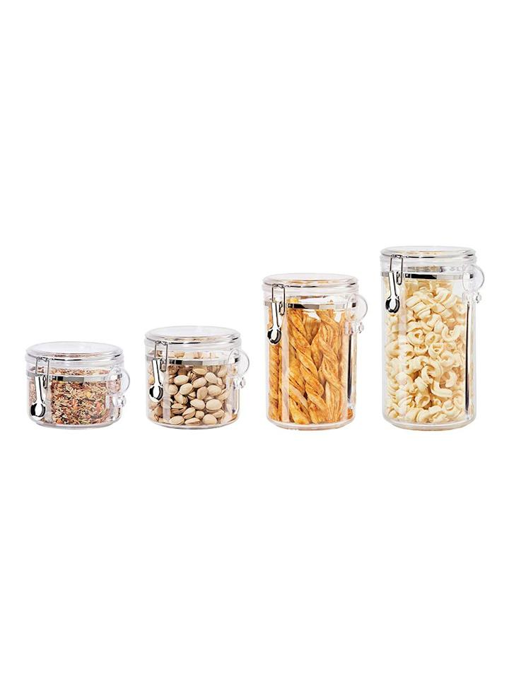 "<p>House everything from dry foods and snacks to craft supplies and even <a href=""https://www.realsimple.com/shop/beauty-c818204999.html"" target=""_blank"">beauty items</a> in these chic canisters. Pretty enough to display on countertops and shelves, you'll find plenty of uses for these lightweight containers all over your home. </p> <p><strong>To buy:</strong> $20 (was $30); <a href=""https://www.amazon.com/Oggi-4-Piece-Canister-Airtight-Spoons-Set/dp/B0002T4ZL4/ref=as_li_ss_tl?ie=UTF8&linkCode=ll1&tag=rshomecustomerlovedjmattern0919-20&linkId=2b895f805ba591b55a8565e28870050d&language=en_US"" target=""_blank"">amazon.com</a>.</p>"