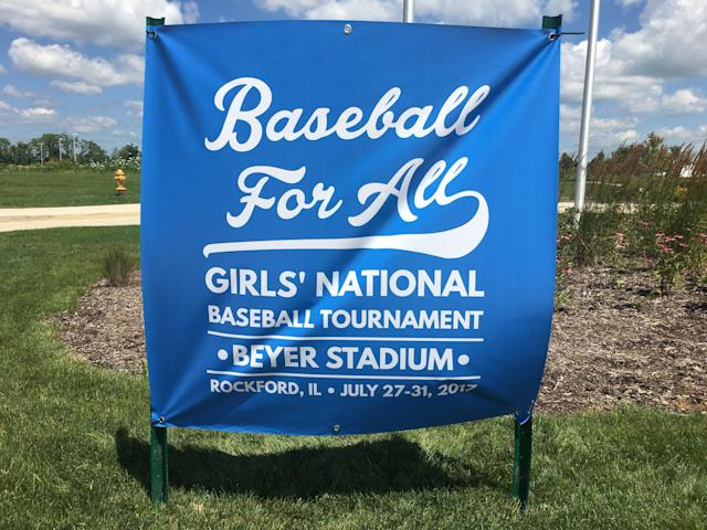 The sign that greeted players, parents, and friends as they attended the five-day national tournament. (Liz Roscher)