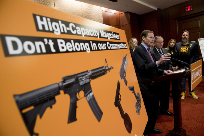 Sen. Richard Blumenthal, D-Conn., center, accompanied by Sen. Bob Menendez, D-N.J., speaks on Feb. 12 about a proposed amendment to ban high capacity magazines in guns. (Photo: Andrew Harnik/AP)