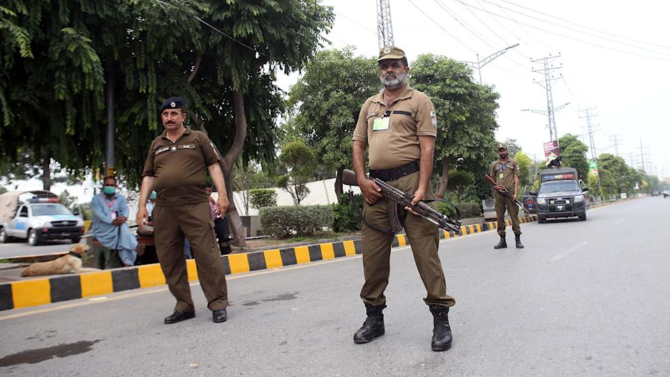 Pakistani security forces, pictured here ahead of the first ODI between Pakistan and New Zealand.
