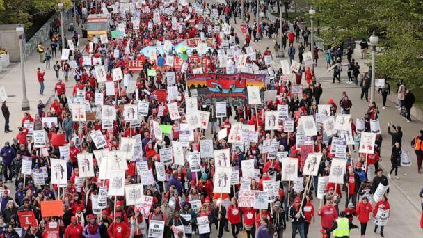PHOTO: Teachers protest during a rally and march on the first day of a teacher strike in Chicago, Oct. 17, 2019. (John Gress/Reuters)