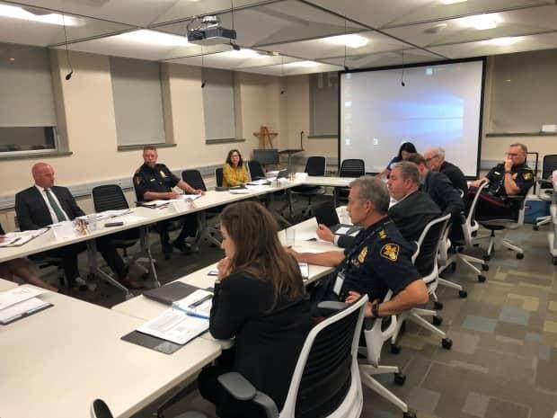 The Saskatoon Board of Police Commissioners, seen here in a photo from 2019, are considering decriminalizing drugs in order to address the overdose crisis. (Morgan Modjeski/CBC - image credit)