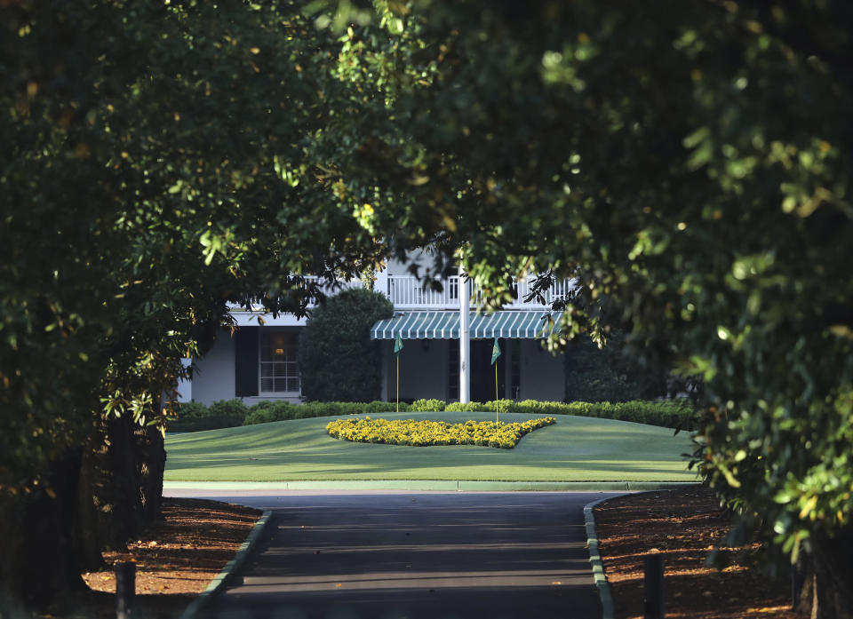 Augusta National Golf Club is shown on what would've been the first practice round for the Masters, Monday, April 6, 2020, in Augusta, Ga. They are cities defined by their signature sporting events. When you hear Augusta, you instantly think of the Masters. When Omaha comes up, it's often in the same breath with the College World Series. For these cities and others, the shutdown caused by the coronavirus pandemic is an especially tough blow.(Curtis Compton/Atlanta Journal-Constitution via AP)