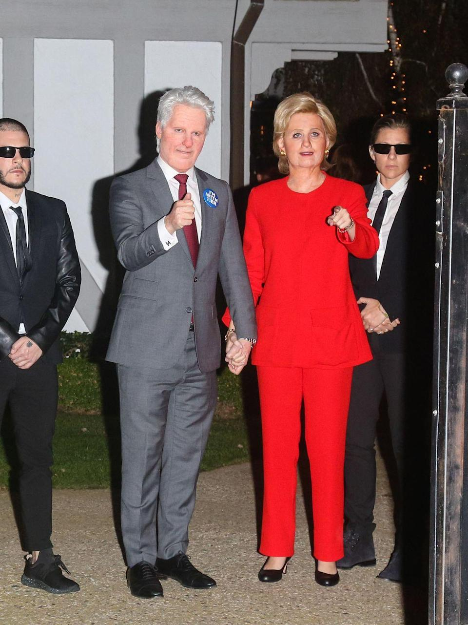 <p>Just another example of how celebrities are over-the-top on Halloween. <del>The Clinton's</del> Orlando Bloom and Katy Perry left a Halloween party in 2016 with a full secret service detail. </p>