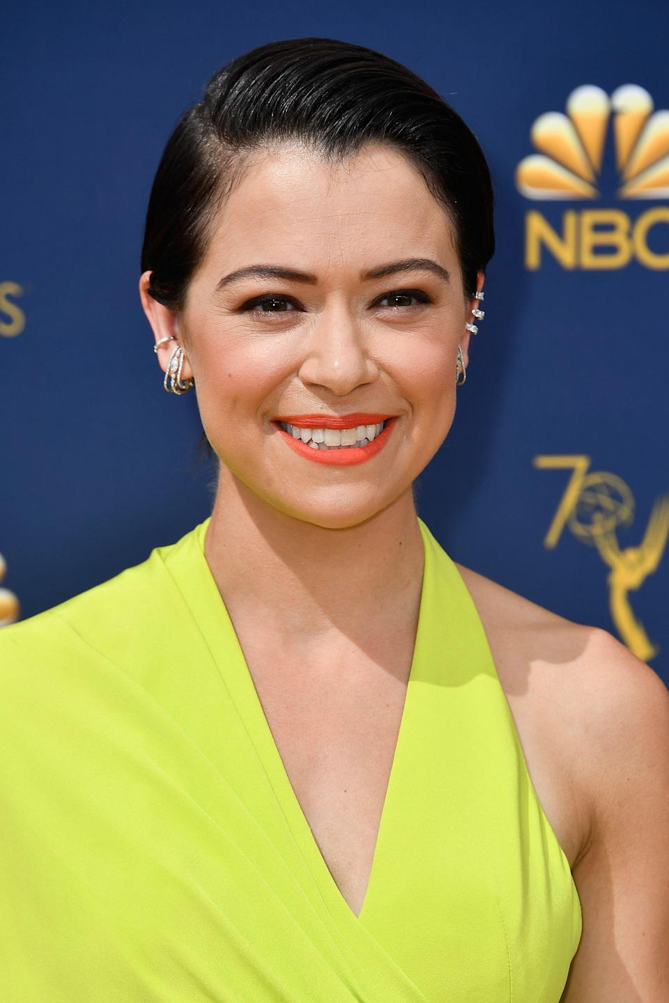 <p>Fall might be fast approaching, but Day-glo orange lips are still in — just ask Tatiana Maslany, who wore Illamasqua lipstick in Flare.</p>