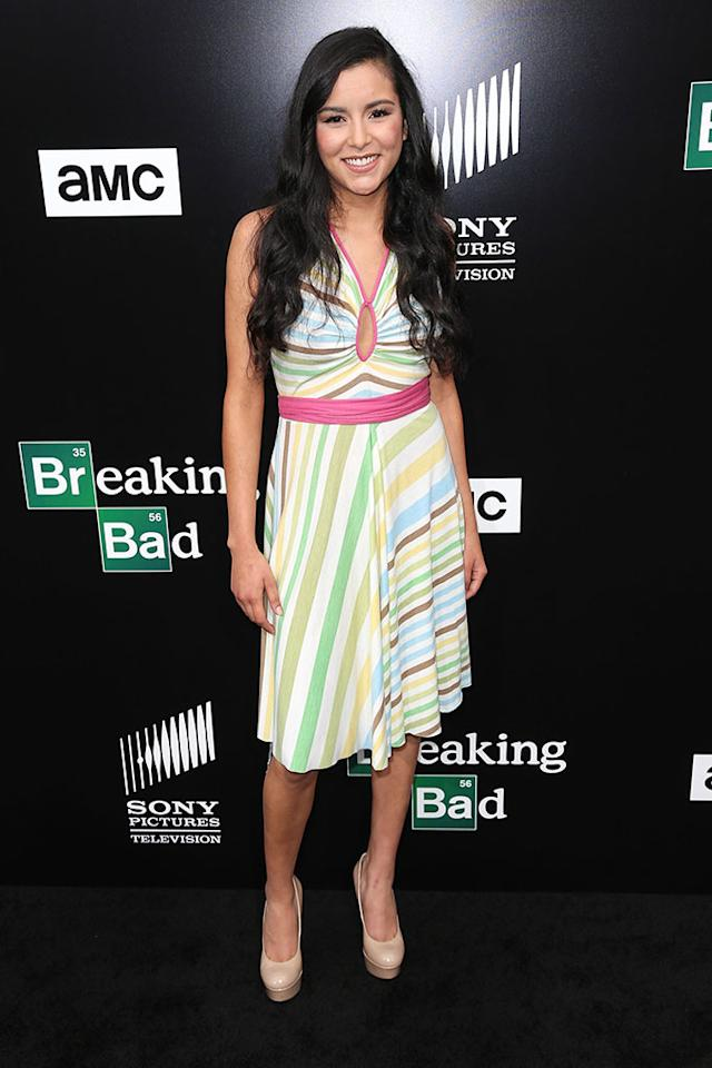 "Emily Rios arrives at AMC's ""Breaking Bad"" special premiere event held at Sony Pictures Studios on July 24, 2013 in Culver City, California."