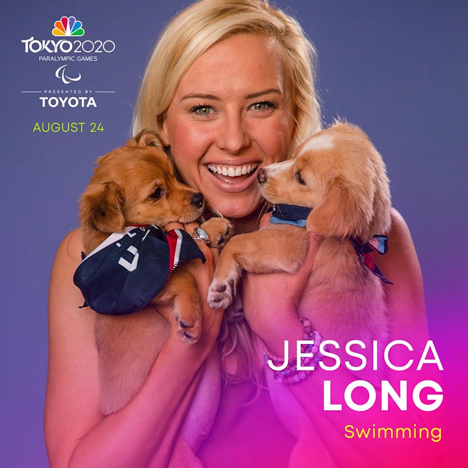 """<p><a href=""""https://www.teamusa.org/Athletes/LO/Jessica-Long?pg=13"""" rel=""""nofollow noopener"""" target=""""_blank"""" data-ylk=""""slk:Long"""" class=""""link rapid-noclick-resp"""">Long</a> is the second-most decorated Paralympian in U.S. History. The swimmer has competed in four Paralympic Games and has won 23 Olympics medals, including 13 gold medals.</p>"""