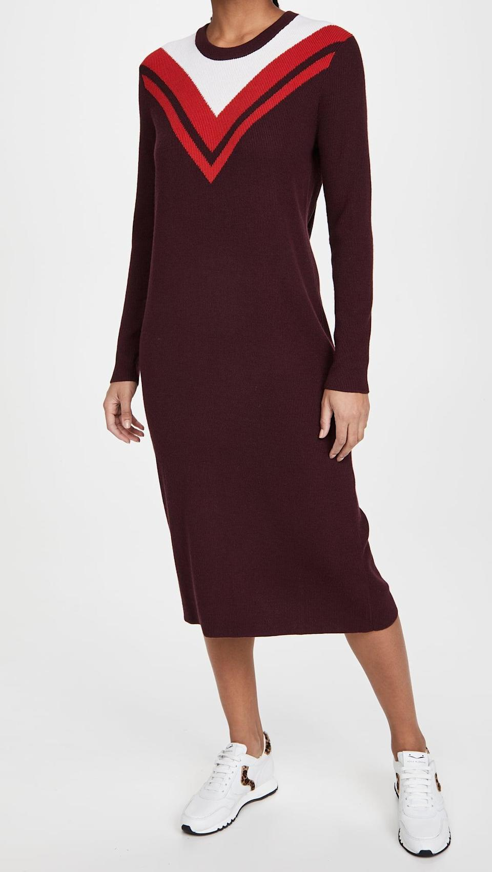 <p>It doesn't get any more comfortable than this <span>Tory Sport Merino Ribbed Chevron Dress</span> ($378).</p>