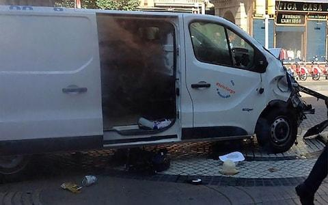 Pictured: the van reportedly used in the attack