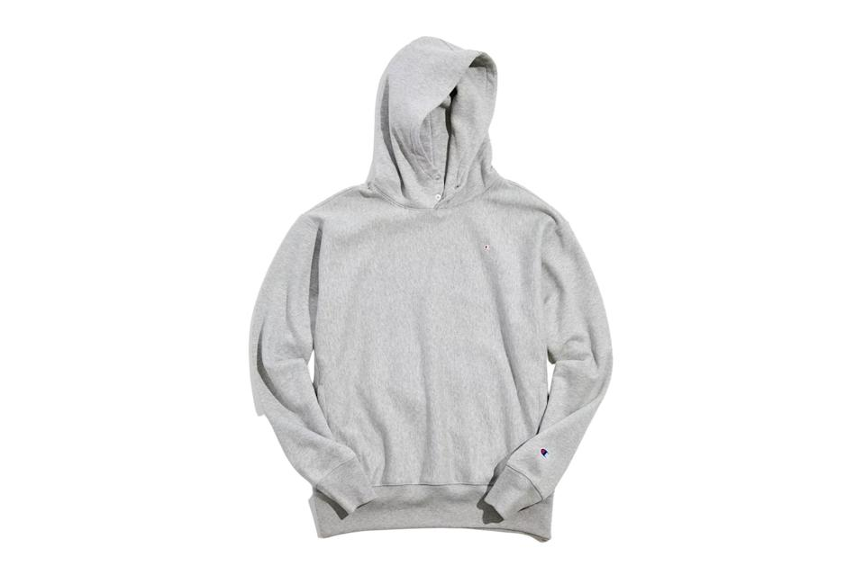 """$69, Urban Outfitters. <a href=""""https://www.urbanoutfitters.com/shop/champion-uo-exclusive-snap-hoodie-sweatshirt?category=mens-clothing-sale&color=004&type=REGULAR&quantity=1"""" rel=""""nofollow noopener"""" target=""""_blank"""" data-ylk=""""slk:Get it now!"""" class=""""link rapid-noclick-resp"""">Get it now!</a>"""