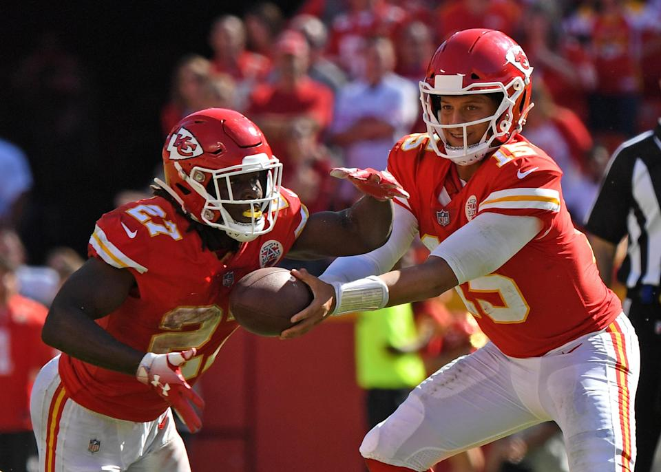 Patrick Mahomes (15) has done his best to play down the loss of Kareem Hunt and the controversy that came with it in Kansas City. (Getty)