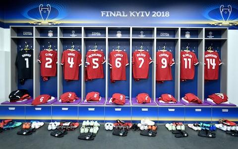 Liverpool's dressing room in Kiev - Credit: Lukas Schulze - UEFA/UEFA via Getty Images