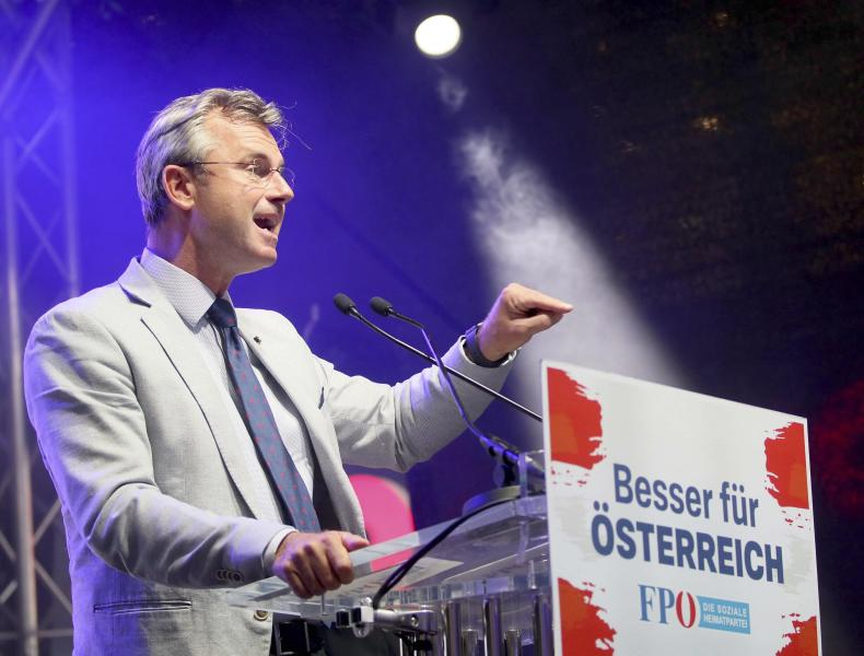Norbert Hofer leader of the right-wing Freedom Party, FPOE, speakes at a closing rally ahead of elections in Vienna, Austria, Thursday, Sept. 27, 2019. The poster's main slogan reads: 'Better for Austria'. The Austrian elections will held on Sunday, Sept. 29, 2019. (AP Photo/Ronald Zak)