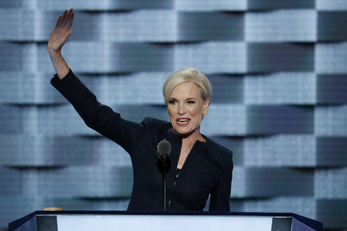 FILE – In this Tuesday, July 26, 2016 file photo, Planned Parenthood President Cecile Richards waves after speaking during the second day of the Democratic National Convention in Philadelphia. (AP Photo/J. Scott Applewhite)