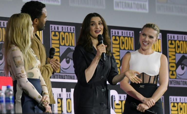 L-R: Actors Florence Pugh, O.T. Fagbenle, Rachel Weisz and Scarlett Johansson speak during a Marvel panel during Comic-Con in San Diego, California on July 20 (AFP Photo/Chris Delmas)