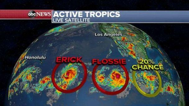 PHOTO: Erick and Flossie are both active in the Pacific. (ABC News)