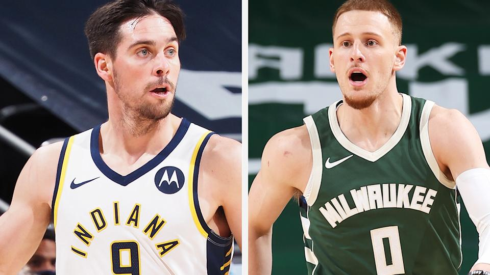 Indiana's TJ McConnell and Milwaukee's Donte DiVincenzo are well positioned to have strong scoring weeks in fantasy basketball. Pictures: Getty Images