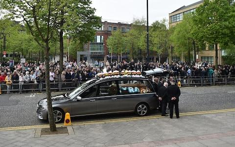 Crowds gathered as the funeral cortege arrived outside St Annes Cathedral in Belfast - Credit: Charles McQuillan/Getty Images