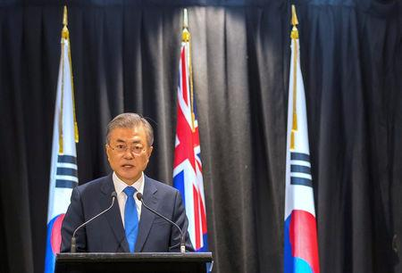 South Korean President Moon Jae-in speaks during a media conference in Auckland, New Zealand, December 4, 2018.   REUTERS/Peter Meecham