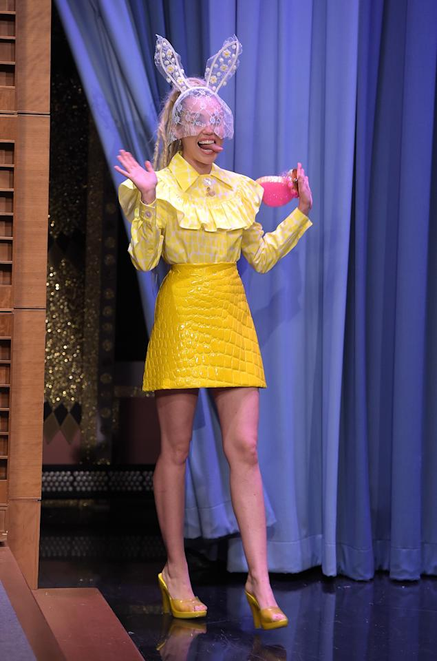 <p>There are no LBDs in sight when Miley does late night TV. For a 2015 <em>Tonight Show</em> appearance, she wore a bright yellow ensemble complete with lace bunny ears.</p>