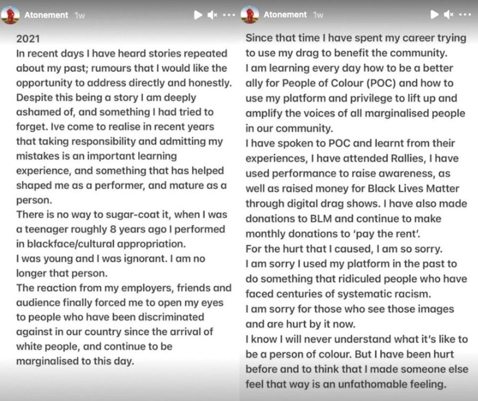 In a lengthy, two-part apology, Scarlet Adams addressed photographs of her wearing Blackface and other problematic outfits. (Screen captures via Instagram/@ScarletAdamsDragQueen)
