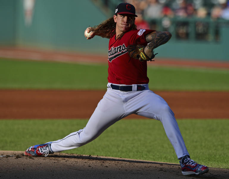 Cleveland Indians starting pitcher Mike Clevinger delivers in the first inning of the team's baseball game against the Detroit Tigers, Wednesday, July 17, 2019, in Cleveland. (AP Photo/David Dermer)